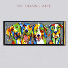 Hand Painted Oil Painting Animal Mischievous Dog Blowing Bubbles Funny Artwork for Home Decor  Large murals decorate the hotel