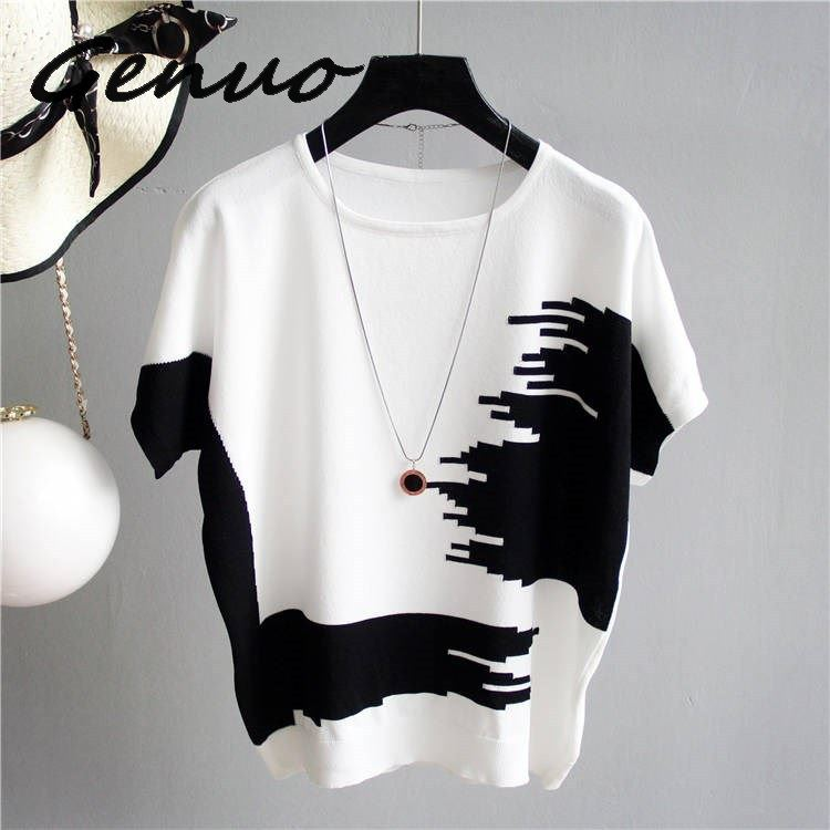 Genuo Women Sweater Pullover Thin Rib Knitted Cotton Tops Patchwork O Neck Essential Jumper Short Sleeve Sweaters Summer 2019