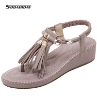 2016 Leisure Flip Flops Genuine Leather Women Wedges Platform Sandals Slip On Summer Shoes Woman Tassel