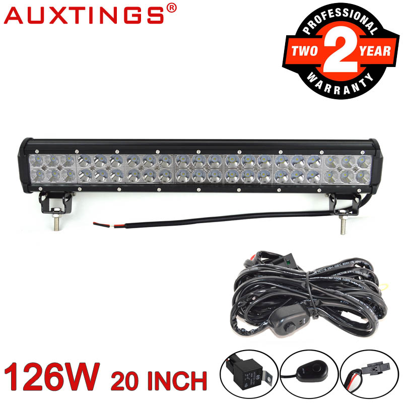 Auxtings 20inch 126W 4x4 combo beam offroad car light 6000K LED work light bar