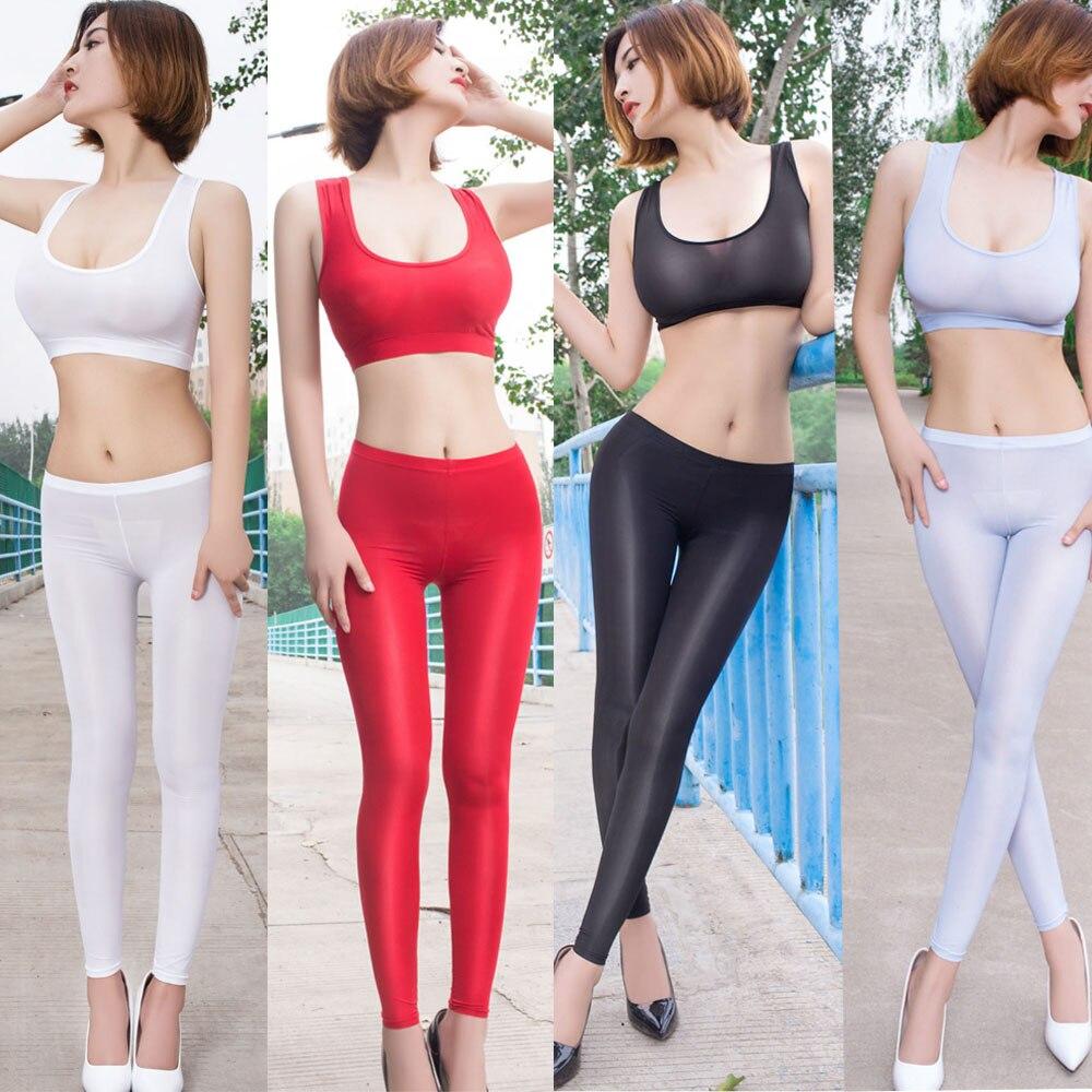 Ice Silk Transparent Elastic Skinny Legging Women Glossy Sheer Charming Exotic Pant Low Waist Sexy Capris Shiny Pencil Pants
