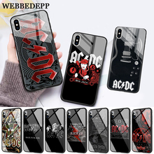 WEBBEDEPP Music Band ACDC Glass Phone Case for Apple iPhone 11 Pro X XS Max 6 6S 7 8 Plus 5 5S SE