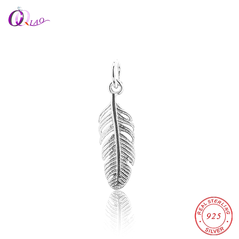 Vintage 100% real 925 sterling silver Charms fantasy feather Pendant & Necklaces Women Sterling-Silver-Jewelry