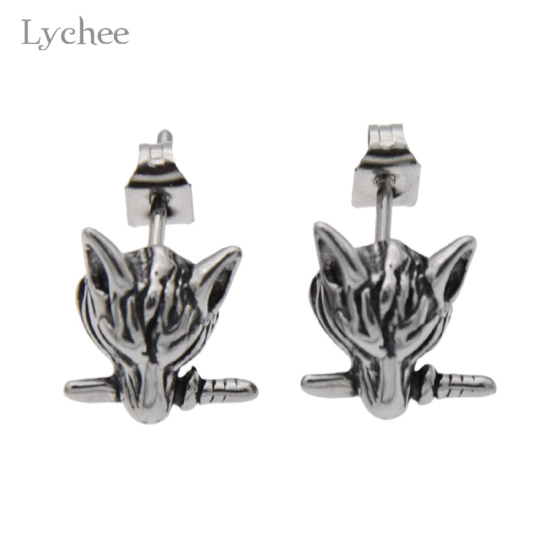 Lychee Gothic Punk Style Stainless Steel Wolf Head Stud Earrings Jewelry for Men Women
