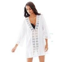 One Piece Blanc Beachwear Resort Wear Kaftan Plage Caftan Dames Robe L38297-1