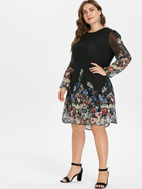 Wipalo Multi Color Plus Size Floral Embroidery Tunic Dress Spring Summer Elegant Tribal Flower Print Vocation Dress Vestidos 5XL