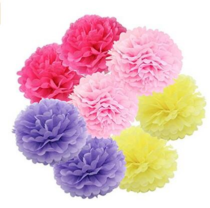 8pcs Mixed Pink Yellow Rose Red Purple Party Tissue Pom Poms Wedding Garland Pompoms Birthday Shower Decoration