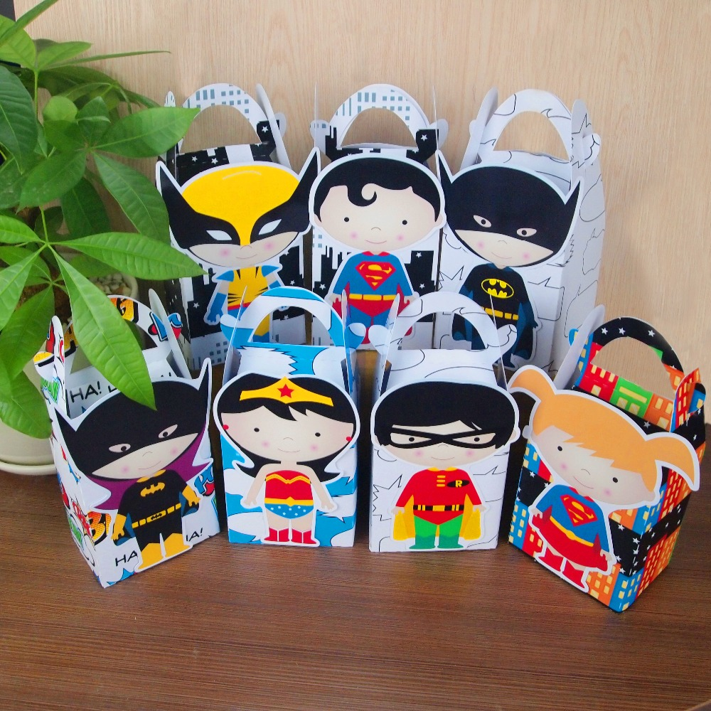 Fete Băieți Superhero Favor Box Caseta Bomboane Cutie cadou Cupcake Box Băieți Copii Birthday Party Supplies Decorare Eveniment Party Party Supplies