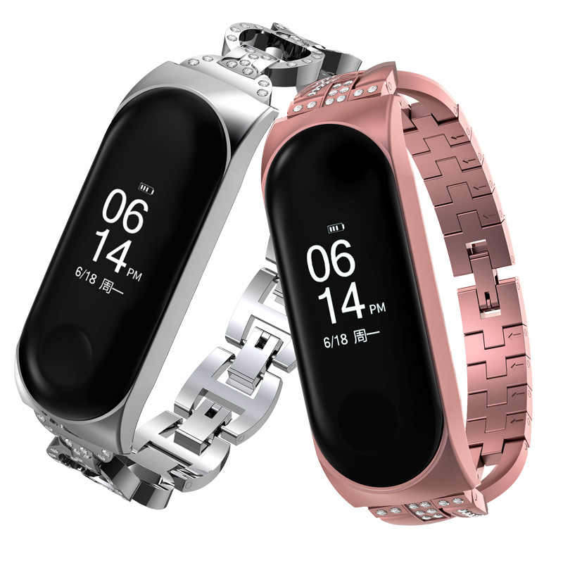 Mi Band 3 Strap Metal Stainless Wrist Steel For Xiaomi Mi Band 3 Strap Ma'am Bracelet Miband 3 Wristbands Pulseira Miband3 Strap