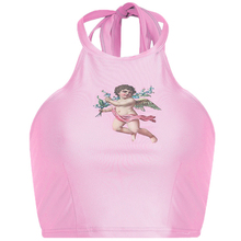 Women Halter Sleeveless Backless Crop Tops Cupid Cherub Printed Tank Tops  Sexy Elastic Stretchy Top 2019 Summer Female halter printed fringed crop top for women