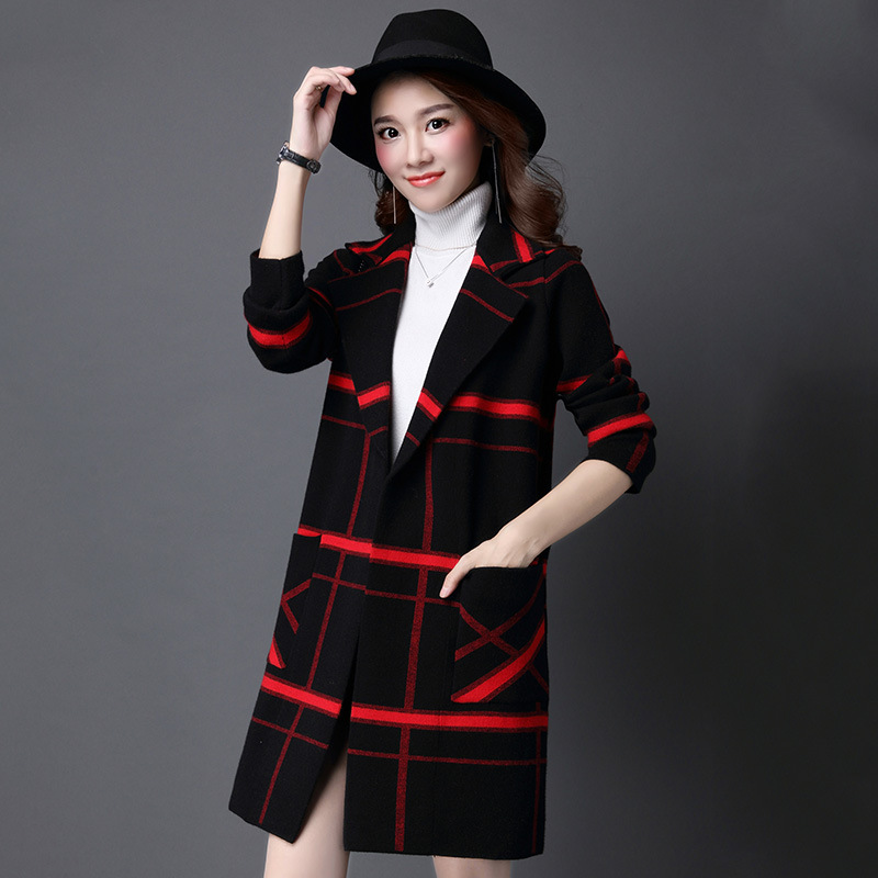 2018 Autumn Winter Plus Size Fashion Woolen Casual Long Sleeve Knitted Sweater Cardigan Women Was Thin Ladies Clothing Long Coat
