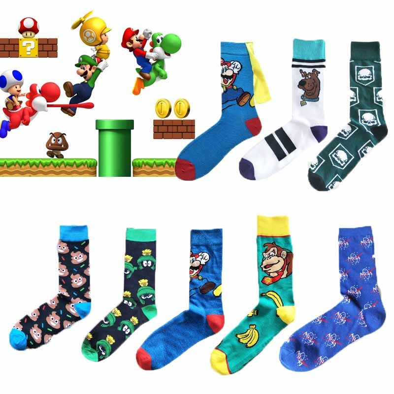 New Super Mario Knee-High   Socks   With Cape Women Men Cosplay Cartoon Calf   Sock   Donkey Kong Mario Bros   Socks   Adult Casual   Socks