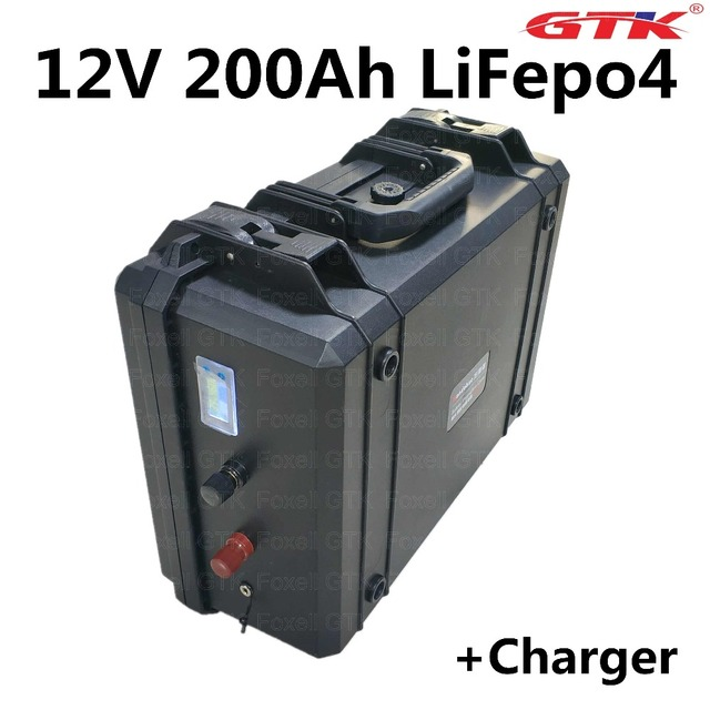 US $1068 0 |12V 200Ah liFepo4 lithium battery pack for solar energy storage  golf trolley golf cart caravan Solar panel RV +10A charger-in Battery
