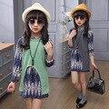 4 5 6 8 9 10 años niñas ropa set 3 unids gasa dress + chaleco de punto + collar de moda otoño que arropan los niños c16