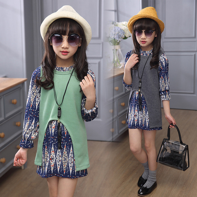 4 5 6 8 9 10 years girls clothes set 3pcs chiffon dress + knitting vest + necklace fashion autumn kids clothing set C16
