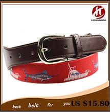 women custom handmade with fish needlepoint belt leather belt free shipping