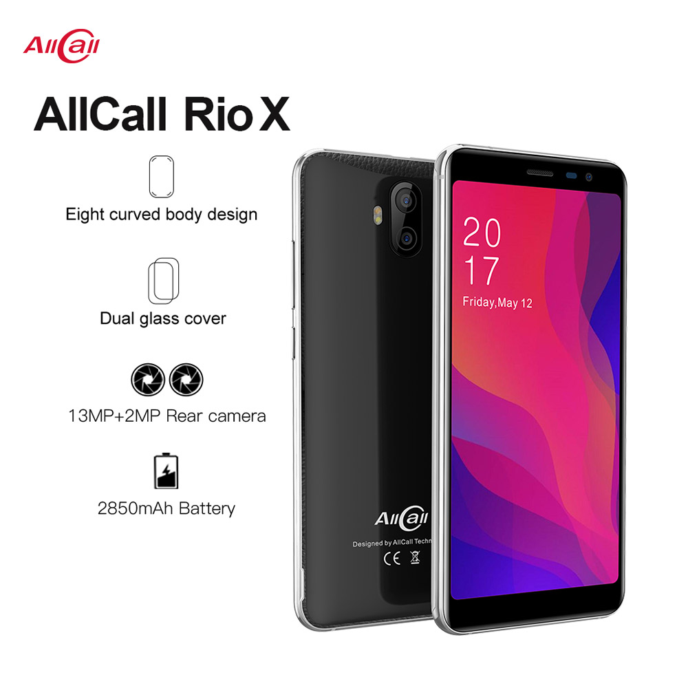 Allcall Rio X 3G Smartphone 13MP+2MP Rear Dual Camera Android 8.1 18:9 5.5 Inch  MTK6580 Quad Core 1GB RAM 8GB ROM Mobile Phone