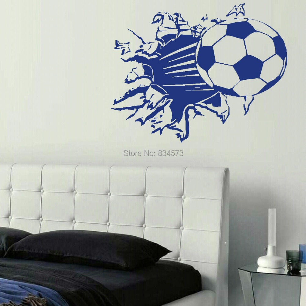 soccer ball football silhouette wall art sticker wall decal home diy decoration decor wall mural. Black Bedroom Furniture Sets. Home Design Ideas