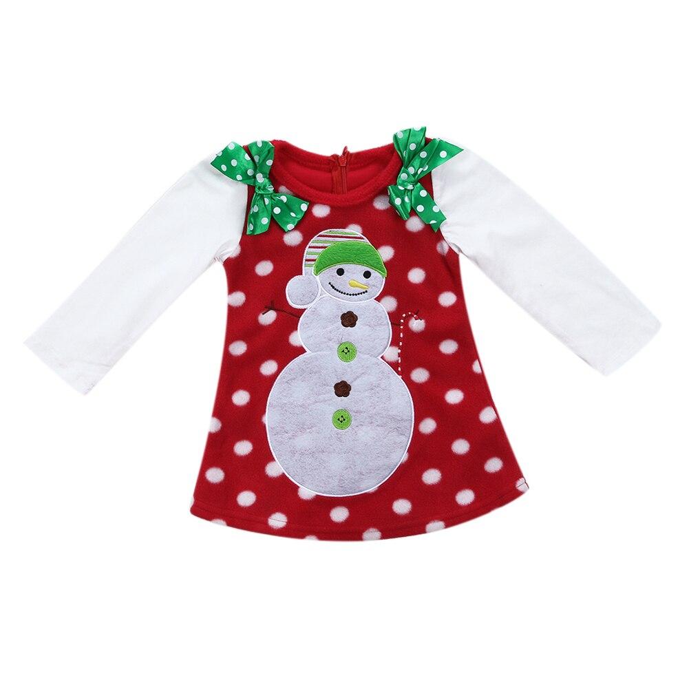 Newborn Baby Girls Christmas Snowman Bowknot Dress Long Sleeve Dress Toddler Girl Clothing Kids Christmas