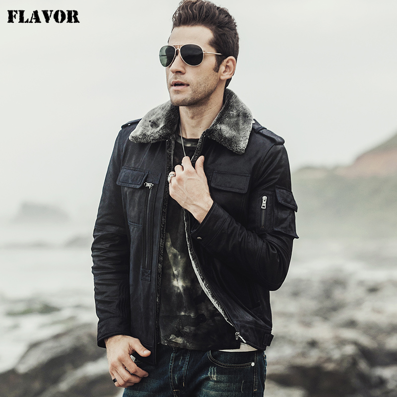 FLAVOR 2017 new winter Motorcycle genuine leather jacket pigskin jacket with faux fur shearling Real Leather FLAVOR 2017 new winter Motorcycle genuine leather jacket pigskin jacket with faux fur shearling Real Leather Jacket