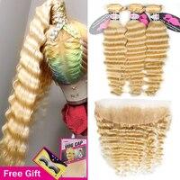 Блонд 613 глубокая волна пучок s с фронтальной бразильской Remy человеческие волосы переплетения пучок сделки с прозрачной кружевной фронталь