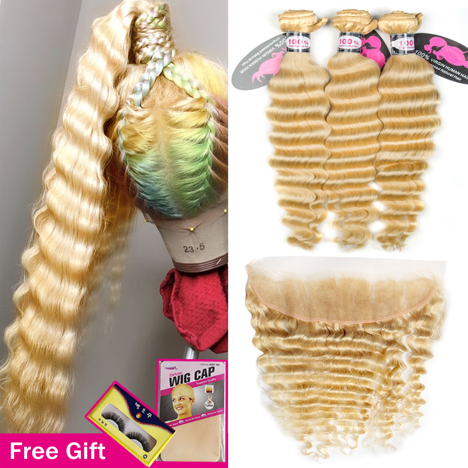 Blonde 613 Deep Wave Bundles With Frontal Brazilian Remy Human Hair Weave Extensions Bundle Deals With Transparent Lace Frontal image