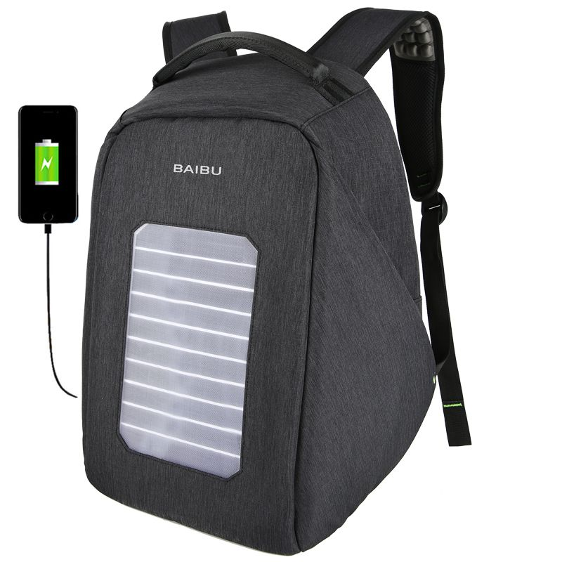 2018 NEW Solar USB Charge Backpack Men Anti-The Notebook Computer Waterproof Travel Bags Teenagers Men Women Fallow School Bags 14 15 15 6 inch flax linen laptop notebook backpack bags case school backpack for travel shopping climbing men women