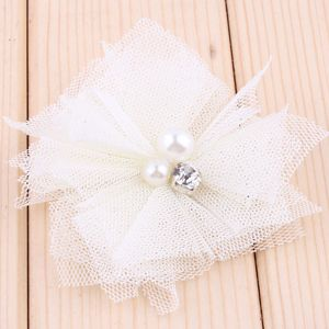 Image 4 - 120pcs/lot 6.5cm 18colors DIY Soft Chic Mesh Hair Flowers With Rhinestones+Pearls Artificial Fabric Flowers For Kids Headbands