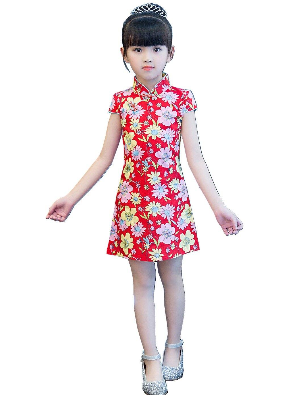 Chinese Traditional Style Flower Cheong-sam Dress Cute Kids Girl Soft Silk Blend