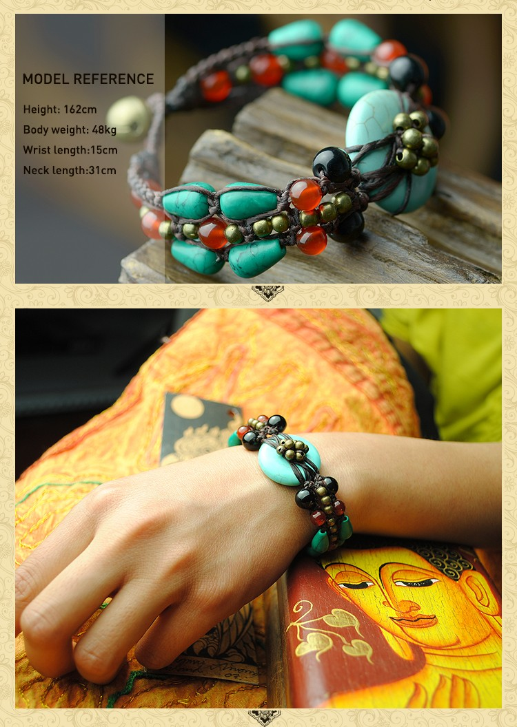 fashion vintage ethnic femme Bracelet for women blue turkey stone copper carnelian chain handmade jewelry wrap charm 18 4
