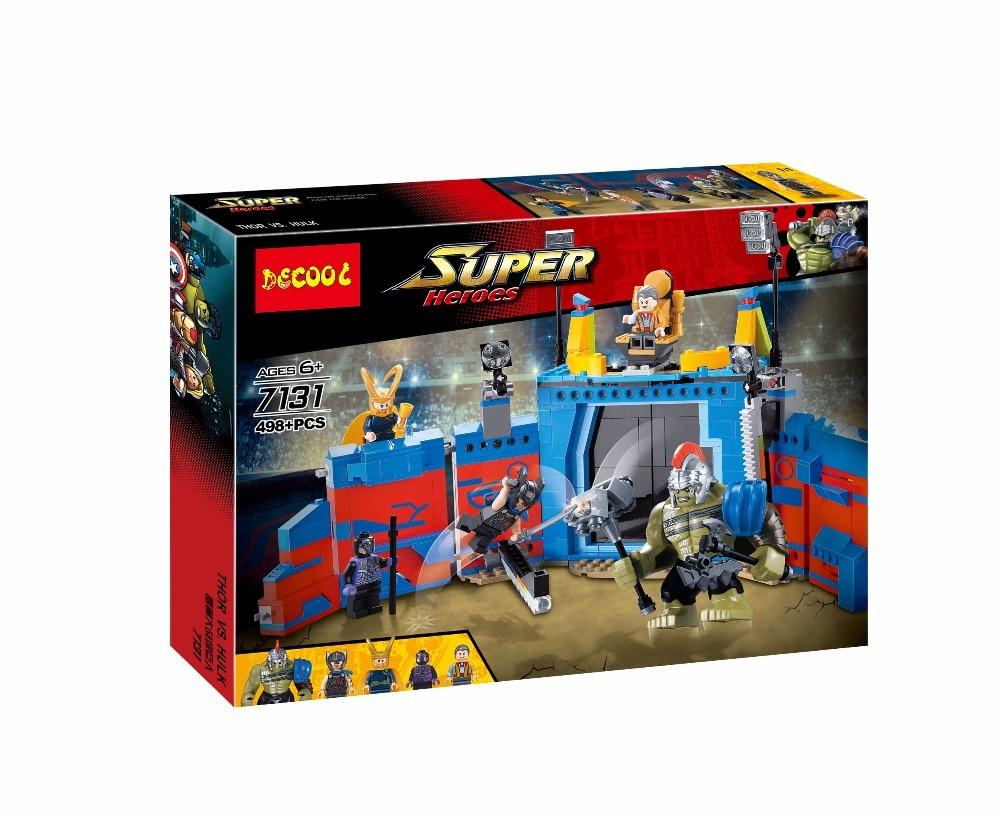 Decool 498Pcs Marvel thanos VS Hulk Ragnarok Action Figure Gift Toys Avengers Fit for Lego 76088 for minifigure superheros футболка wearcraft premium slim fit printio avengers