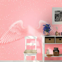 Custom wallpaper mural modern ins pink wings snowflake net red background wall - high-grade waterproof material