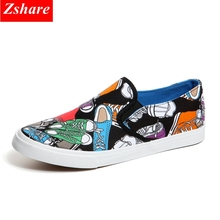 Men Shoes Casual Mens Canvas Man Loafers 2019 Fashion Graffiti Slip-on Luxury Brand Flats chaussures homme