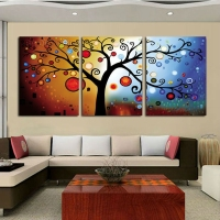 3 Panel Money Tree Oil Painting For Home Decoration Picture Handpainted Paintings Canvas Art Cheap Artwork