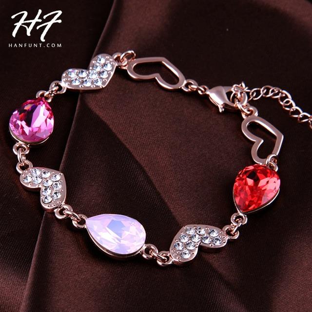 De Calidad superior H004 Multicolor Huevo Hearts Pulsera Chapado En Oro Rosa Cristales Austriacos Genuinos Al Por Mayor