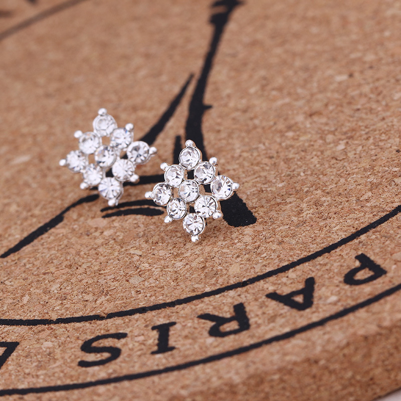 Mossovy Geometric Flowers Zircon Silver Stud Earrings for Women Fashion Simulated Pearl Female Jewelry Pendientes