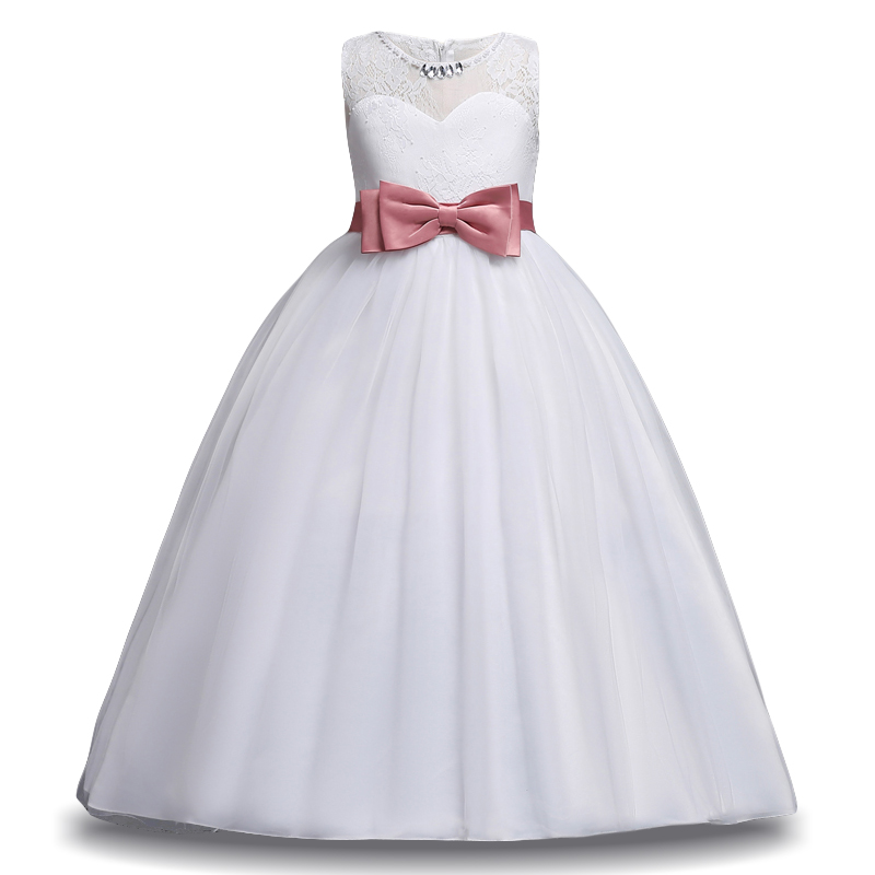 LZH Kids White Bridesmaid Wedding Flower Girls Dresses For Girls Princess Dress Girl Formal Party Dresses Children Fancy Costume 4 15y little big girls clothes rustic flower girl wedding occasion junior bridesmaid kids cocktail dresses for 14 year girls