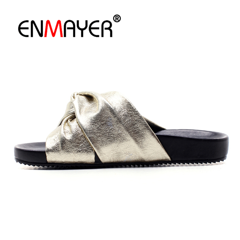 ENMAYER Women Low heels Woman Sandals Summer Party Open toe Fashion shoes Flats Sandals Size 34-39 Causal shoes Pleated CR683