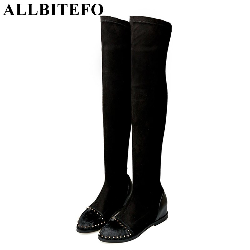 ALLBITEFO Elastic cloth brand rivets Horsehair over the knee boots height increasing winter warm women boots fashion girls boots