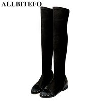 ALLBITEFO Genuine Leather Elastic Cloth Brand Rivets Horsehair Over The Knee Boots Mixed Colors Height Increasing