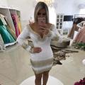 vestido de festa curto de luxo White And Gold Mermaid Short Cocktail Dresses Sexy Lace Pearls Beads Long Sleeves Party Dresses