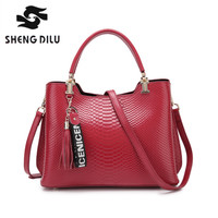 100 Real Genuine Leather Style Women Handbag Tote Bag Ladies Shoulder Bags Wholesale Price 2017 New
