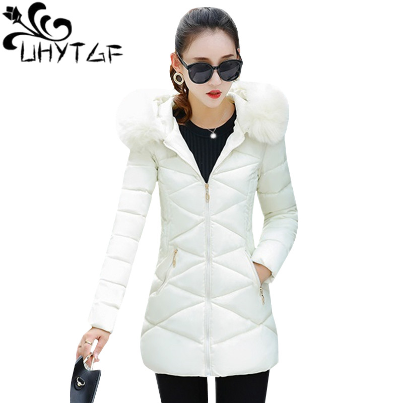 UHYTGF Winter Plaid Cotton Jacket Long Jacket Women Hooded Coat Warm Parka Outerwear Female Down Jacket