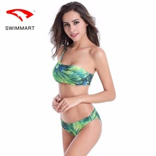 push up bikini plus size swimsuit large swimwear women 2019 bandeau/sexy /printing/one shoulder