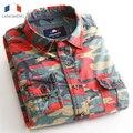 Langmeng 100% algodón Hombre de Combate Del Ejército de Camuflaje Camisa de Los Hombres Ocasionales Slim fit Camisas de Vestir de manga Larga de Camuflaje Militar camisa Casual