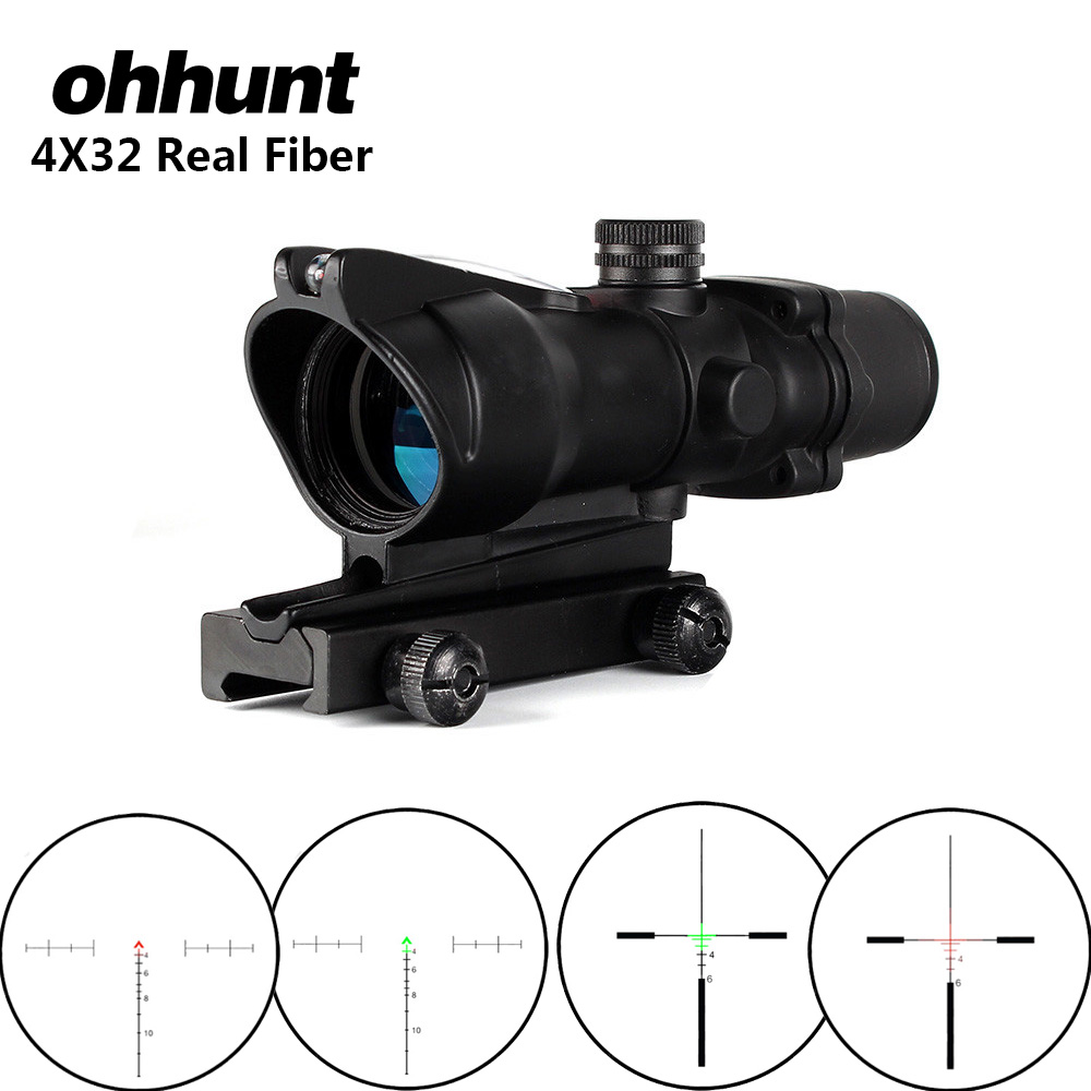 ohhunt 4X32 Hunting Real Optical Fiber Scope Red Green Glass Etched BDC or Chevron Reticle Sights Tactical Riflescope for Rifle 4x32 hunting real optical fiber scope red green glass etched bdc or chevron reticle sights