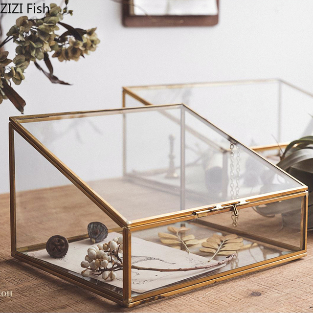European Style Polygonal Vintage Copper Side Glass Jewelry Cosmetic Storage Box Jewelry Display and Storage