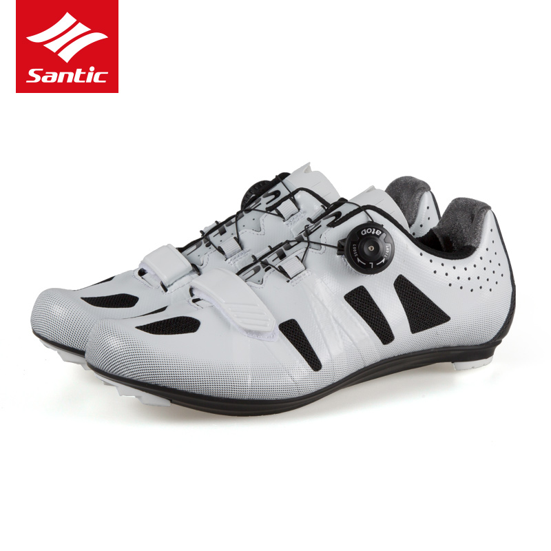 все цены на Santic New Men Cycling Shoes Nylon Breathable Road Bike Shoes Black White Self-locking Bicycle Shoes Zapatillas Ciclismo Ruta