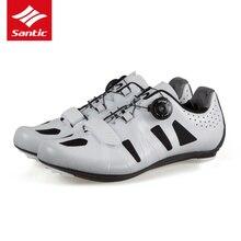 Santic New Men Cycling Shoes Nylon Breathable Road Bike Shoes Black White Self-locking Bicycle Shoes Zapatillas Ciclismo Ruta
