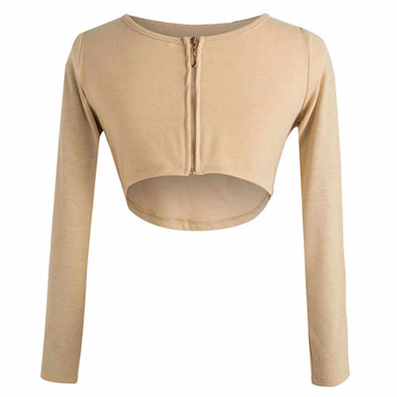 Outono feminino sexy voltar zíper manga longa sólido recortado camiseta feminina topo de colheita